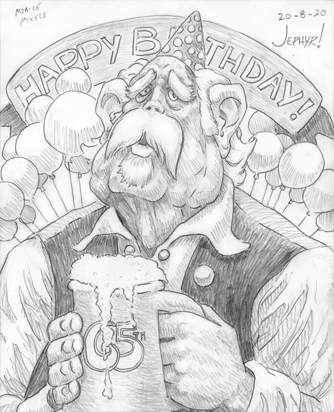 """Another Birthday"" Pencil Sketch - Copyright 2020, Jephyr (Jeff Curtis), All Rights Reserved"